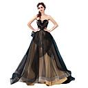 זול שמלות שושבינה-גזרת A סטרפלס שובל סוויפ \ בראש טול ערב רישמי שמלה עם חרוזים / אפליקציות על ידי LAN TING Express