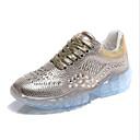 זול מוקסינים לנשים-בגדי ריקוד נשים פוליאסטר אביב נעלי אתלטיקה שטוח בוהן עגולה זהב / כסף