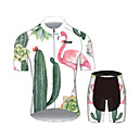 cheap Cycling Jersey & Shorts / Pants Sets-21Grams Women's Short Sleeve Cycling Jersey with Shorts White Flamingo Floral Botanical Bike Clothing Suit Breathable Moisture Wicking Quick Dry Sports 100% Polyester Mountain Bike MTB Road Bike