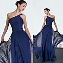 זול שמלות שושבינה-גזרת A כתפיה אחת עד הריצפה שיפון ערב רישמי שמלה עם אפליקציות / תד נשפך על ידי JUDY&JULIA
