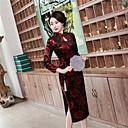 זול תלבושות אתניות ותרבותיות-מבוגרים בגדי ריקוד נשים סגנון סיני Cheongsam עבור מסיבה וערב מדים מועדון תערובת כותנה / פוליאסטר ארוך Cheongsam