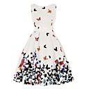 זול שמלות שושבינה-גזרת A עם תכשיטים קצר \ מיני פוליאסטר מסיבת קוקטייל שמלה עם דוגמא \ הדפס על ידי LAN TING Express