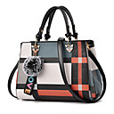 preiswerte Handbeutel-Damen Reißverschluss / Quaste PU Tasche mit oberem Griff Geometrische Muster Schwarz / Rosa / Rote / Herbst Winter