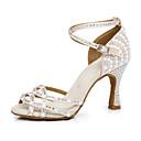 hesapli Latin Dans Ayakkabıları-Kadın's Suni Deri Latin Dans Ayakkabıları Topuklular Kıvrımlı Topuk Kişiselleştirilmiş Çıplak / Performans / Egzersiz