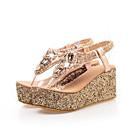 povoljno Ženske sandale-Žene PU Ljeto slatko Sandale Wedge Heel Otvoreno toe Šljokice Zlato / Pink