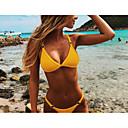 cheap Bikinis-Women's Strap Black Orange Yellow Triangle Cheeky Bikini Swimwear - Solid Colored Metal S M L Black / Super Sexy