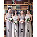 זול שמלות שושבינה-גזרת A צווארון V / כתפיה אחת עד הריצפה שיפון שמלה לשושבינה  עם בד בהצלבה / סלסולים על ידי JUDY&JULIA