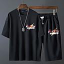 זול בגדי ריצה-בגדי ריקוד גברים אימונית אותיות ריצה חליפות בגדים לבוש אקטיבי נושם מיקרו-אלסטי משוחרר