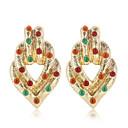 זול קבקבים לנשים-בגדי ריקוד נשים צלול אדום זירקונה מעוקבת עגיל פרח אופנתי עגילים תכשיטים זהב / כסף עבור מתנה יומי זוג 1