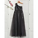 זול שמלות שושבינה-גזרת A כתפיה אחת מקסי טול שמלה לשושבינות הצעירות  עם חרוזים על ידי LAN TING BRIDE®