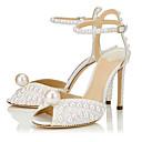 hesapli Kadın Sandaletleri-Kadın's Sandaletler Stiletto Topuk Taşlı / Boncuklama Sentetikler İngiliz / Minimalizm İlkbahar & Kış / Yaz Beyaz / Düğün / Parti ve Gece