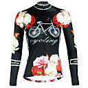 cheap Cycling Jerseys-ILPALADINO Women's Long Sleeve Cycling Jersey Black Floral Botanical Bike Top Breathable Quick Dry Ultraviolet Resistant Sports Winter Elastane Mountain Bike MTB Road Bike Cycling Clothing Apparel