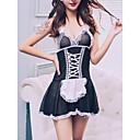 povoljno Seksi kostimi-Uniforma sluškinje Žene Peplum Sexy Noćno rublje Color block Crn L XL XXL / S naramenicama