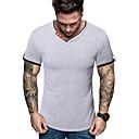 hesapli Erkek Gömlekleri-Erkek V Yaka Dar - Tişört Solid Temel Beyaz / Kısa Kollu