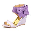 povoljno Ženske sandale-Žene PU Ljeto Vintage / Uglađeni Sandale Wedge Heel Otvoreno toe Mašnica Crvena / Pink / Badem / Vjenčanje / Zabava i večer