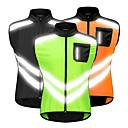 abordables Chaquetas de Ciclismo-WOSAWE Hombre Sin Mangas Chaleco de Ciclismo Negro Naranja Verde Color sólido Bicicleta Chalecos Paravientos Camiseta / Maillot Resistente al Viento Bandas Reflectantes Bolsillo trasero Deportes