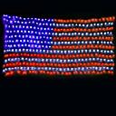 זול צמחים מלאכותיים-7m הדגל האמריקאי מחרוזת האורות 135 מדים צבע רב עיטור עבור חוצות / חג המולד / עצמאות יום 220-240v 1set