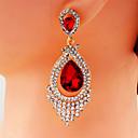 זול סיכות-בגדי ריקוד נשים אדום לבן עגיל נברשת טיפה פאר גדול עגילים תכשיטים לבן / אדום בהיר / חום בהיר עבור חתונה Party קרנבל פֶסטִיבָל זוג 1