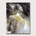זול ציורים מופשטים-ציור שמן צבוע-Hang מצויר ביד - מופשט אנשים וינטאג' מודרני ללא מסגרת פנימית