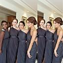 זול שמלות שושבינה-גזרת A כתפיה אחת עד הריצפה שיפון שמלה לשושבינה  עם סרט / סלסולים על ידי JUDY&JULIA