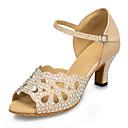 povoljno Cipele za latino plesove-Žene Plesne cipele Sintetika Cipele za latino plesove Štras / Sjedna Štikle Kubanska potpetica Moguće personalizirati Zlato / Koža