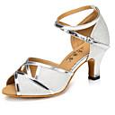 זול נעלי עקב לנשים-בגדי ריקוד נשים נעלי ריקוד סינטטיים נעליים לטיניות שחבור עקבים עקב קובני מותאם אישית כסף / הצגה / עור