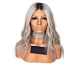 halpa Synteettiset peruukit verkolla-Synteettiset pitsireunan peruukit Laineita Tyyli Keskiosa Lace Front Peruukki Harmaa Ombre Color Synteettiset hiukset 12-16 inch Naisten Säädettävä / Heat Resistant / Party Harmaa / Ombre Peruukki