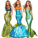 halpa Elokuva & TV teeman puvut-Merenneito Aqua Queen Aqua Princess Cosplay-Asut Juhla-asu Aikuisten Naisten Joulu Halloween Karnevaali Festivaali / loma Teryleeni Vihreä / Kultainen / Telkkä Naisten Karnevaalipuvut Vintage