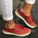 hesapli Kadın Babetleri-Unisex Düz Ayakkabılar Düz Taban Yuvarlak Uçlu Püsküllü Kanvas İlkbahar & Kış Siyah / Yeşil / Kırmzı