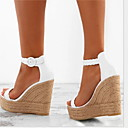 hesapli Kadın Topukluları-Kadın's Sandaletler Dolgu Topuk Yuvarlak Uçlu Toka PU İlkbahar & Kış / Yaz Beyaz / Altın