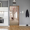 זול אורות קיר Flush Mount-עץ יצירתי הדלת מדבקות דקורטיביים waterproof עיצוב הדלת מדבקות - מדף קיר מדבקות פרחוני / בוטני / נוף חדר / משרד / פינת אוכל / מטבח