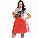 hesapli Oktoberfest-Kasım Festivali üstü dar altı geniş elbise Trachtenkleider Kadın's Elbise Bavyera Kostüm Kırmızı