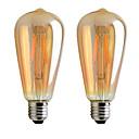 halpa LED-hehkulamput-2pcs 8 W LED-hehkulamput 300 lm E26 / E27 ST64 1 LED-helmet COB Lämmin valkoinen 85-265 V