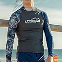 זול הלבשה לריקודים לטיניים-LCDRMSY בגדי ריקוד גברים מגן מפריחה מגן מפריחה חולצת שחייה שמור על חום הגוף הגנה מפני השמש UV ייבוש מהיר שרוול ארוך שחייה ספורט מים טלאים קיץ / גמישות גבוהה