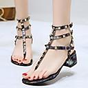 hesapli Kadın Sandaletleri-Kadın's Sandaletler Kalın Topuk Perçin PU Yaz Siyah / Gümüş / Kırmzı