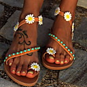 hesapli Kadın Sandaletleri-Kadın's Sandaletler Düz Taban Yuvarlak Uçlu Taşlı PU İlkbahar & Kış Sarı