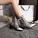 זול מגפי נשים-בגדי ריקוד נשים מגפיים Fashion Boots עקב עבה בוהן מחודדת PU מגפיים באורך אמצע - חצי שוק סתיו חורף שחור / אפור / קולור בלוק