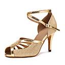 povoljno Cipele za latino plesove-Žene Plesne cipele Sintetika Cipele za latino plesove Isprepleteni dijelovi Štikle Tanka visoka peta Moguće personalizirati Zlato / Seksi blagdanski kostimi