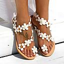 hesapli Kadın Sandaletleri-Kadın's Sandaletler Düz Taban Suni Deri Yaz Beyaz