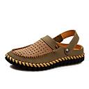 זול סנדלים לגברים-בגדי ריקוד גברים נעלי נוחות עור קיץ / אביב קיץ יום יומי סנדלים נושם חום כהה / חאקי