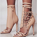 povoljno Ženske čizme-Žene Sandale Stiletto potpetica Okrugli Toe Ukrasna trakica PU Ljeto Crn / Badem