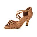 hesapli Latin Dans Ayakkabıları-Kadın's Saten Latin Dans Ayakkabıları Kristal Detaylar Topuklular Kıvrımlı Topuk Kişiselleştirilmiş Kahverengi