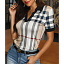billige Crossbody-vesker-Tynn Skjortekrage Skjorte Dame - Ruter, Trykt mønster Kakifarget