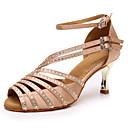 hesapli Latin Dans Ayakkabıları-Kadın's Dans Ayakkabıları Saten Latin Dans Ayakkabıları Taşlı Topuklular Altın Kaplama Şeffaf Topuk Kişiselleştirilmiş Çıplak / Performans