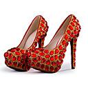 hesapli Kadın Düğün Ayakkabıları-Kadın's Düğün Ayakkabıları Stiletto Topuk Yuvarlak Uçlu Kristal / Işıltılı Pullar PU Tatlı / Minimalizm İlkbahar yaz / Sonbahar Kış Kırmzı / Parti ve Gece