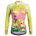 hesapli Bisiklet Formaları-Miloto Kadın's Uzun Kollu Bisiklet Forması Mor Turuncu Sarı Çiçek / Botanik Büyük Bedenler Bisiklet Gömlek Sweatshirt Forma Nefes Alabilir Hızlı Kuruma Yansıtıcı çizgili Spor Dalları %100 Polyester