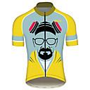 hesapli Bisiklet Formaları-21Grams Kötü kırma Wlater Beyaz Erkek Kısa Kollu Bisiklet Forması - Mavi+Sarı Bisiklet Forma Üstler Nefes Alabilir Hızlı Kuruma Yansıtıcı çizgili Spor Dalları %100 Polyester Dağ Bisikletçiliği Yol