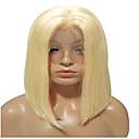 billige Blondeparykker med menneskehår-Remy Menneskehår Blonde Forside Parykk Bobfrisyre Midtdel stil Brasiliansk hår Rett Blond Parykk 150% Hair Tetthet Blond Dame Kort Blondeparykker med menneskehår beikashang