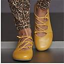 Недорогие Женские ботинки-Жен. На плокой подошве На плоской подошве Круглый носок Кожа Лето Желтый / Красный / Синий