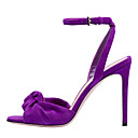 hesapli Kadın Sandaletleri-Kadın's Sandaletler Stiletto Topuk Açık Uçlu Toka Süet Tatlı / İngiliz Sonbahar / İlkbahar yaz Siyah / Mor / Kırmzı